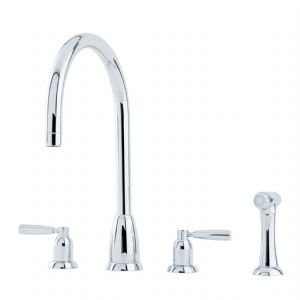 4891 Perrin & Rowe Callisto Four Hole Sink Mixer Tap C Spout Lever Handles and Rinse